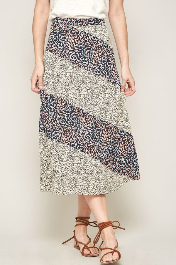 A Floral-print Woven Midi Skirt