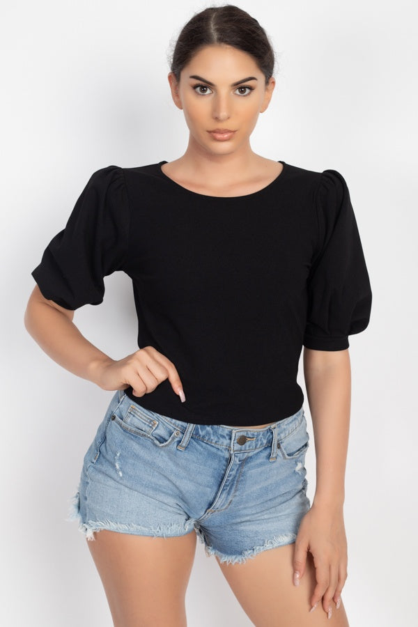 Techno Crepe Balloon Sleeve Top
