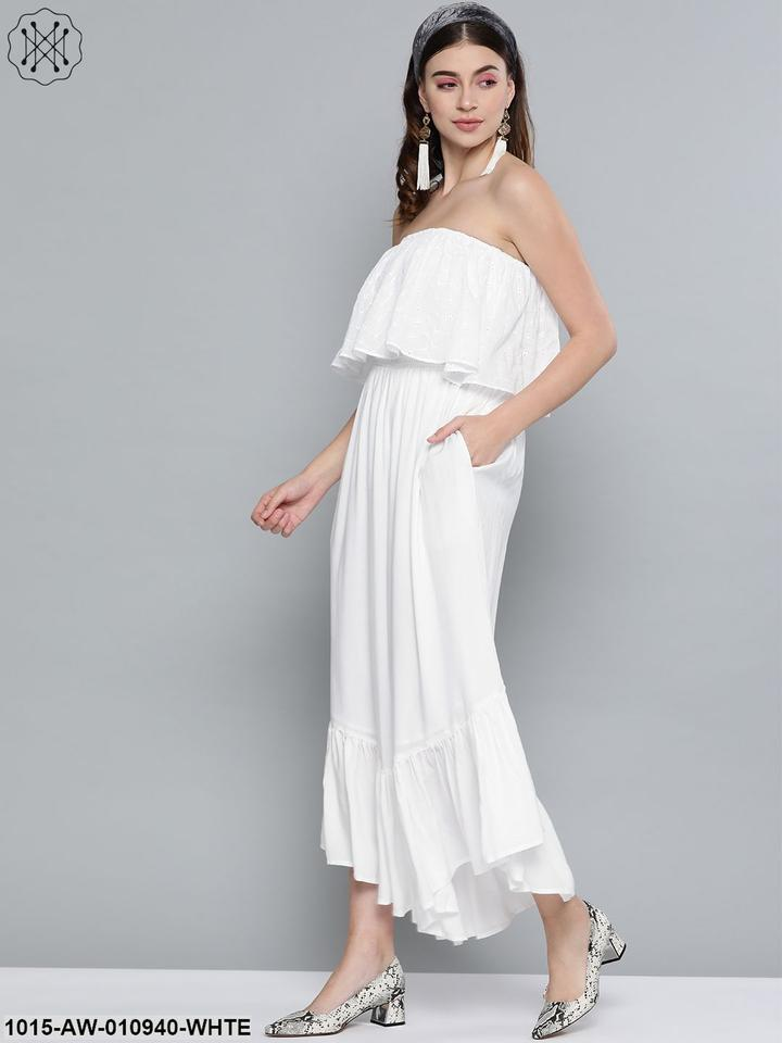 White cotton Schiffli Off Shoulder Jumpsuit