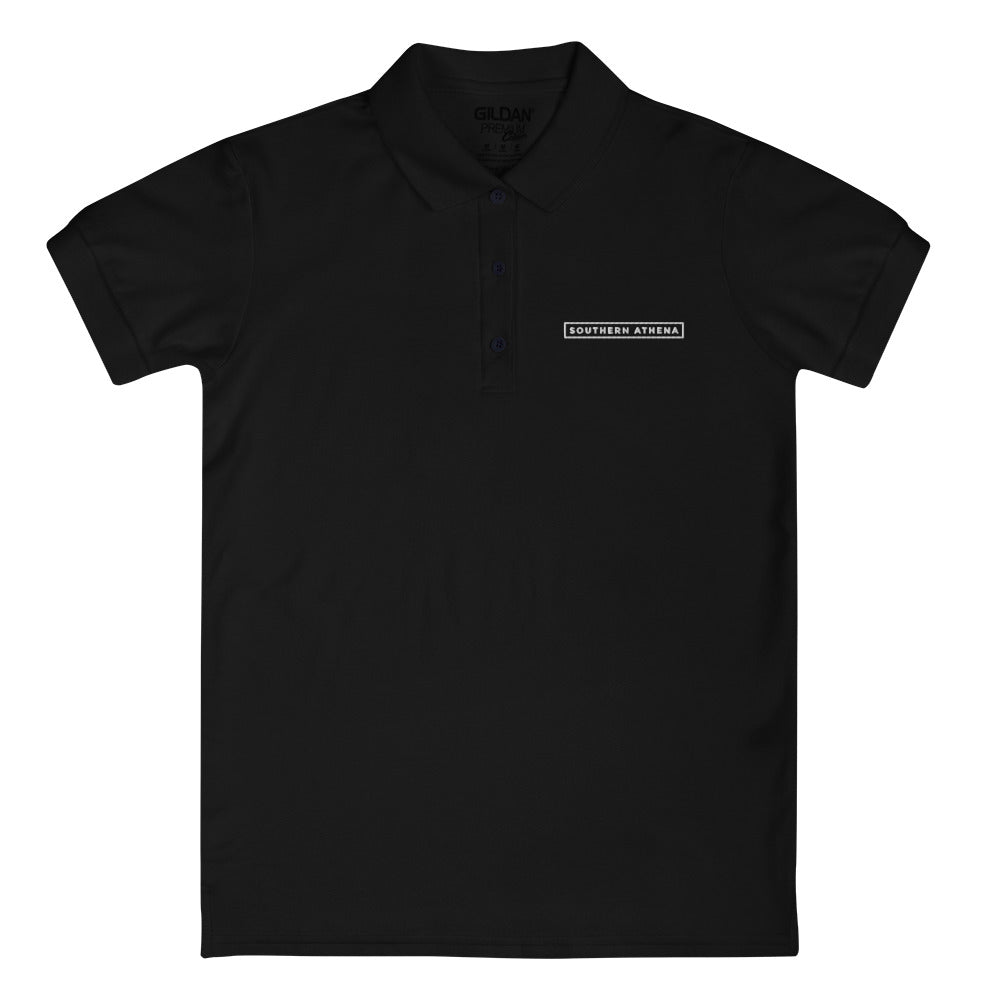 Embroidered Women's Black Polo Shirt