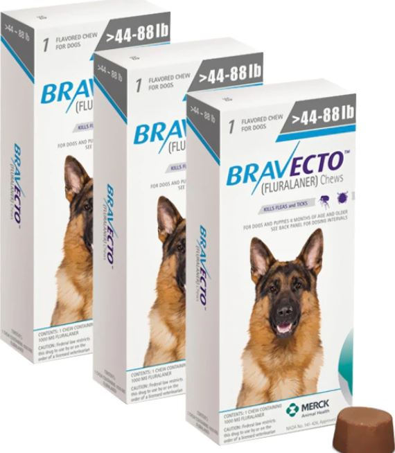 Bravecto For Dogs 1000 mg Large 20-40 kg One Tablet 12 weeks Protection Anti Fleas & Ticks 3 Pcs Free Shipping - The Poultry coop