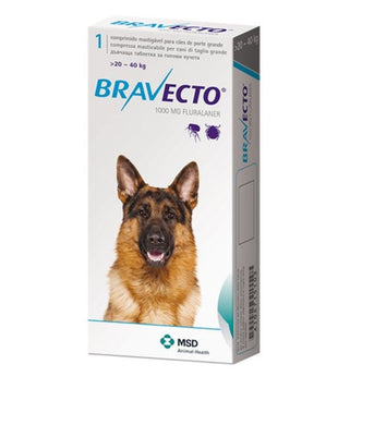 Bravecto For Dogs 1000 mg Large 20-40 kg One Tablet 12 weeks Protection Anti Fleas & Ticks International Free Shipping - The Poultry coop