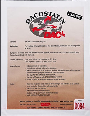Dac Dacostatin 100 gr Anti Fungal Treatment Pigeons & Poultry - The Poultry coop