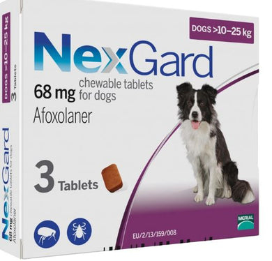 NEXGARD CHEWS FOR DOGS 10.1-25 KG / 24.1-60 LBS - PURPLE 3 CHEWS - The Poultry coop