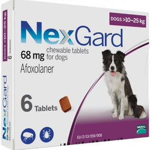NEXGARD CHEWS FOR DOGS 24.1-60 LBS / 10.1-25 KG - PURPLE 6 CHEWS - The Poultry coop