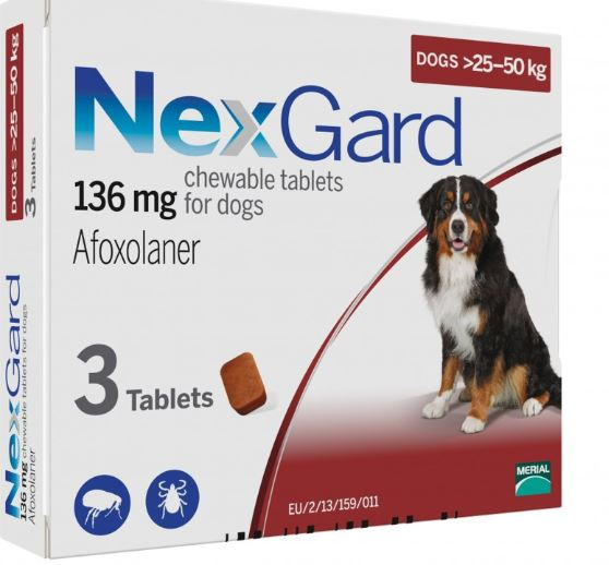 NEXGARD CHEWS FOR DOGS 25.1-50 KG / 60.1-121 LBS - RED 3 CHEWS - The Poultry coop