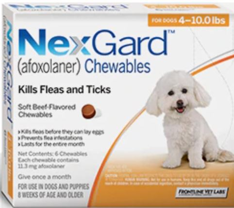 NEXGARD CHEWS FOR DOGS 4-10 LBS / 2-4 KG - ORANGE 3 CHEWS - The Poultry coop