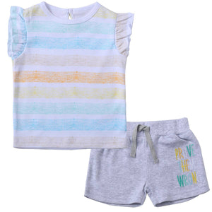 Girl's Stripe Tee and Short Set