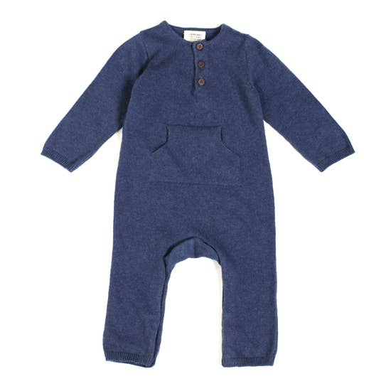 Heather Sweater Knit Kangaroo Coverall Romper