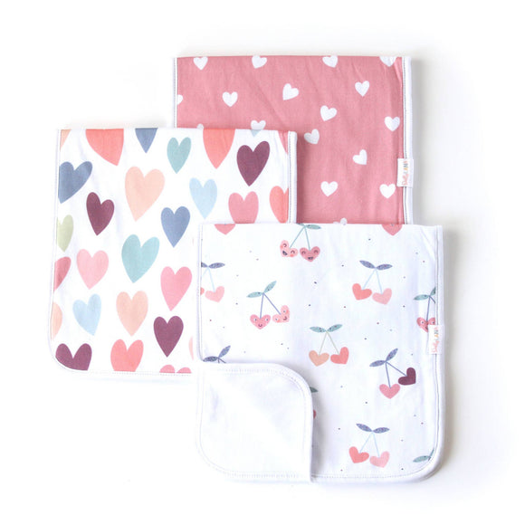 Cherry heart Burp Cloth Set