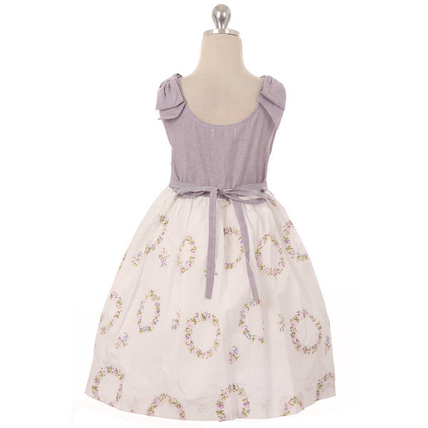 Cotton Shoulder Bow Button Dress - Lavender
