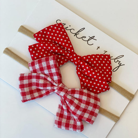 Linen Bow Headband | Red Gingham & Dot