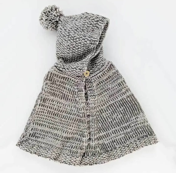 Hooded Poncho Grey