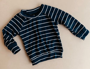 Ribbed Pull Over - Navy/White Stripes