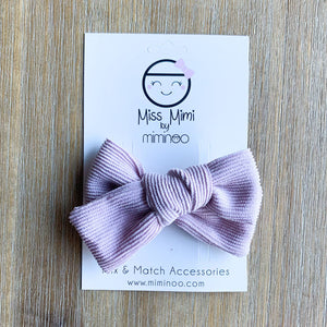 Corduroy Hair Bow - Dusty Pink/Lavender