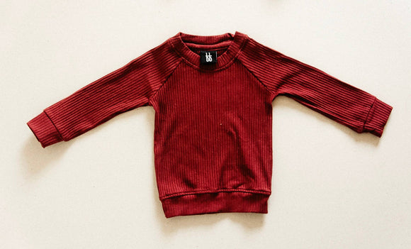 Ribbed Pull Over - Cranberry