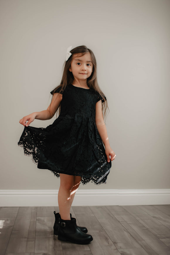 All Black Lace Peasant Dress