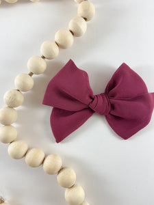 Madi Scot Hand Tied Chiffon Hair Bow - Mulberry
