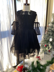 Sheer & Lace Pleated Dress