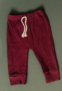 Ribbed Boyfriend Joggers - Cranberry
