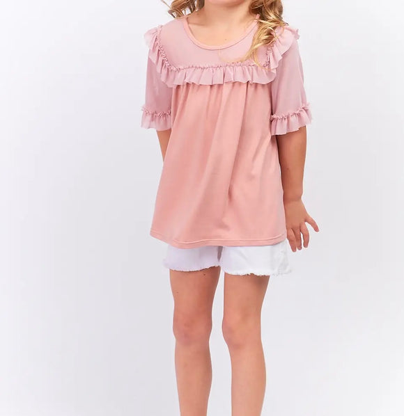 MESH SQUARE NECK RUFFLE TOP - Mauve