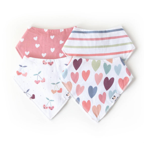 Cherry heart Bandana Bib Set