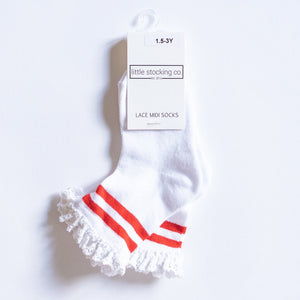 Socks - Red Stripe Lace Midi Socks