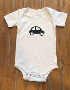 Little Car Onesie - White