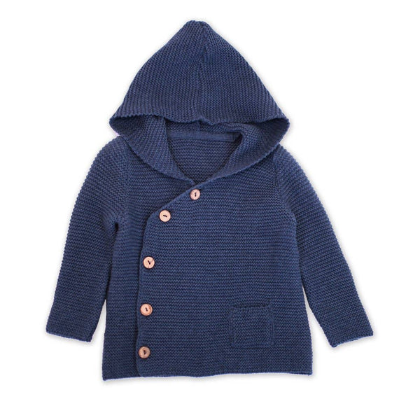 Baby Hoodie Button Coat Sweater Knit Organic Cotton