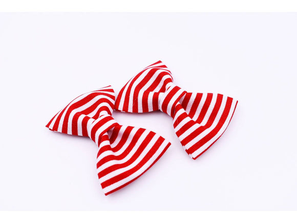 Red and White Stripe Bow Tie