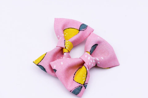 Pink Lemonade Hair Bow Pigtails