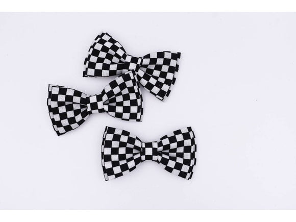 Bow Tie - Black & White Checkered Clip-On