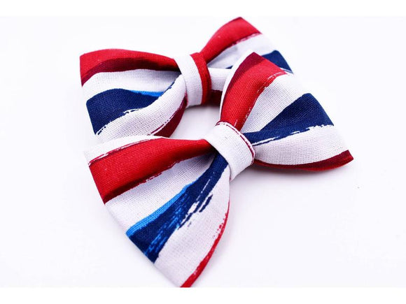 Red, White and Blue Stripes Hair Bow