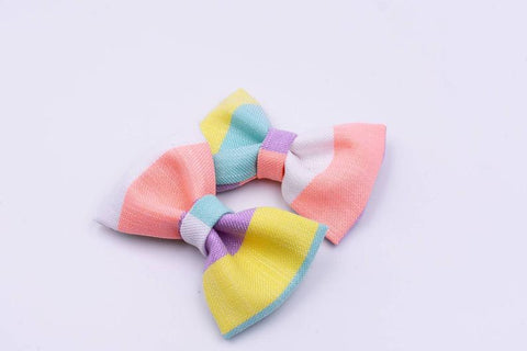 Pastel Stripe Hair Bow Pigtails