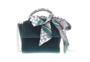 Top Handle Velvet Emerald Purse