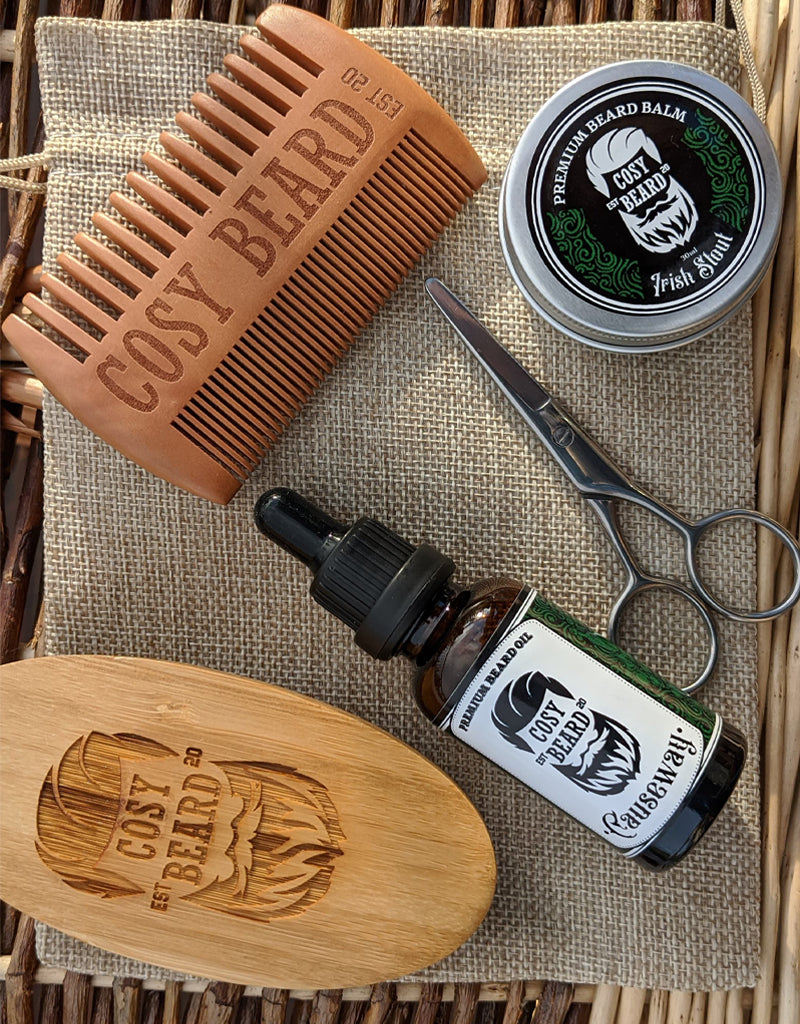 Cosy Beard Complete Grooming Kit - Beard Care Package - Gift Set - Cosy Beard - Beard Kit - Beard Balm Belfast Irish Beard Brand Facial Hair