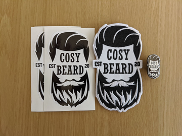 Cosy Beard Enamel Pin, Patch and 2 Sticker Pack - Cosy Beard - Apparel - Beard Balm Belfast Irish Beard Brand