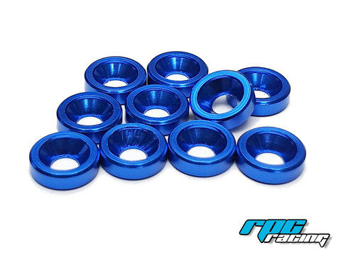 RPC Racing M3 Aluminium Countersunk Washers (10) - Blue
