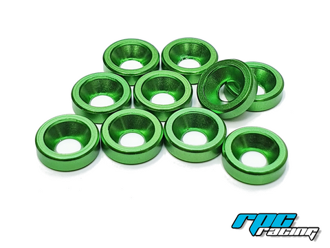 RPC Racing M3 Aluminium Countersunk Washers (10) - Green
