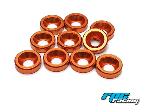 RPC Racing M3 Aluminium Countersunk Washers (10) - Orange
