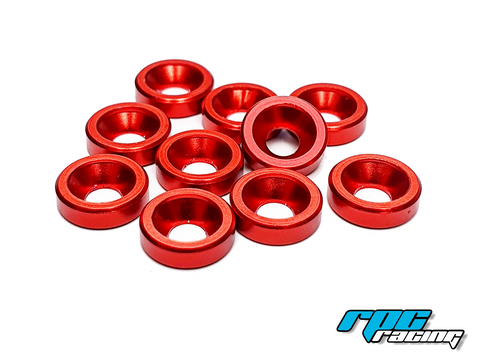 RPC Racing M3 Aluminium Countersunk Washers (10) - Red
