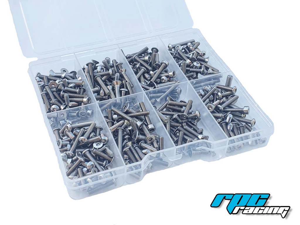 JQ Racing The White Edition E Stainless Steel Screw Kit