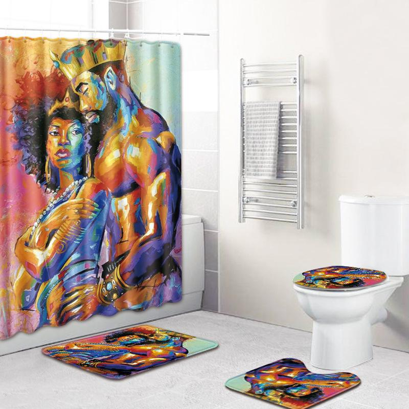 4Pcs African American Lover Couple Shower Curtain Bathroom Set