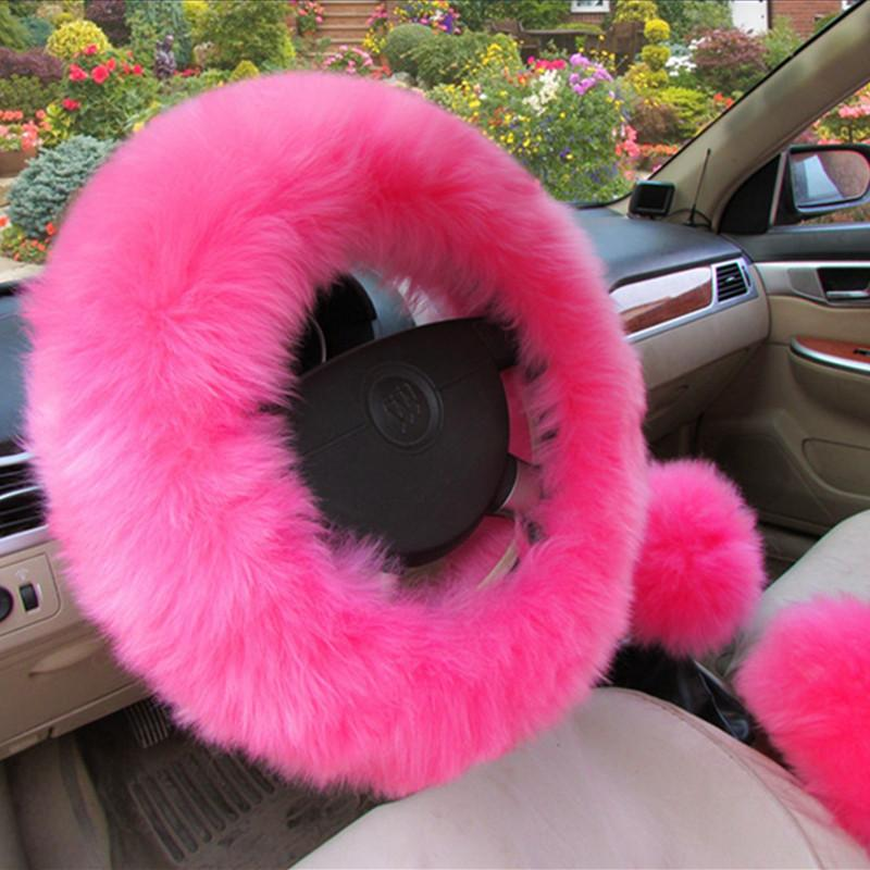 3pcs Set Faux Fur Handbrake Gear Cover