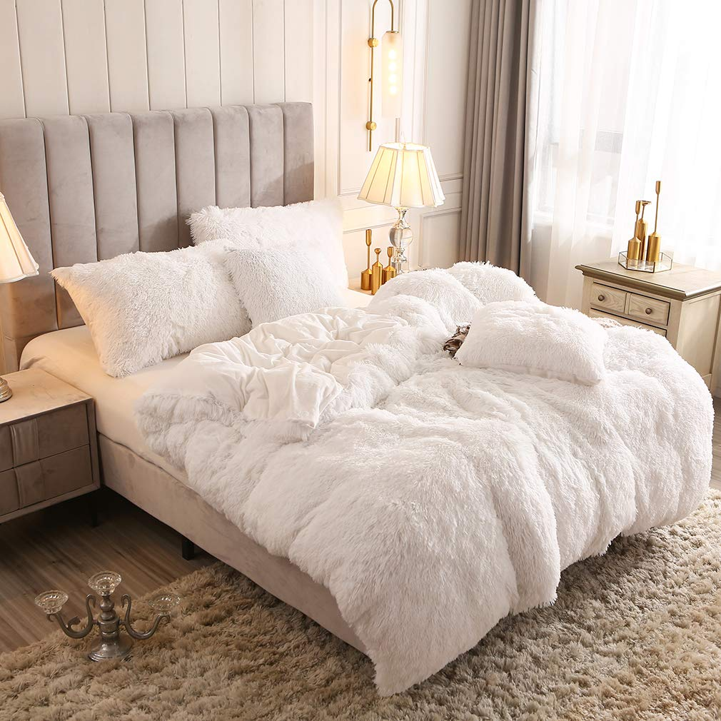 Fluffy Duvet Cover With Pillow Cover 3 Pieces Set