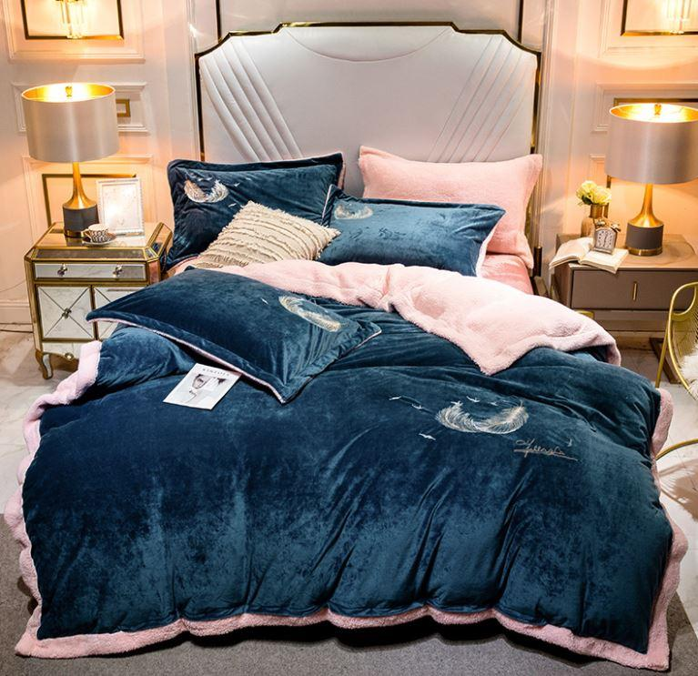 Feather Velvet Bedding Set