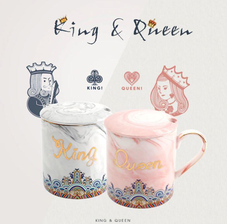 Luxury Gold King & Queen Marble Mug