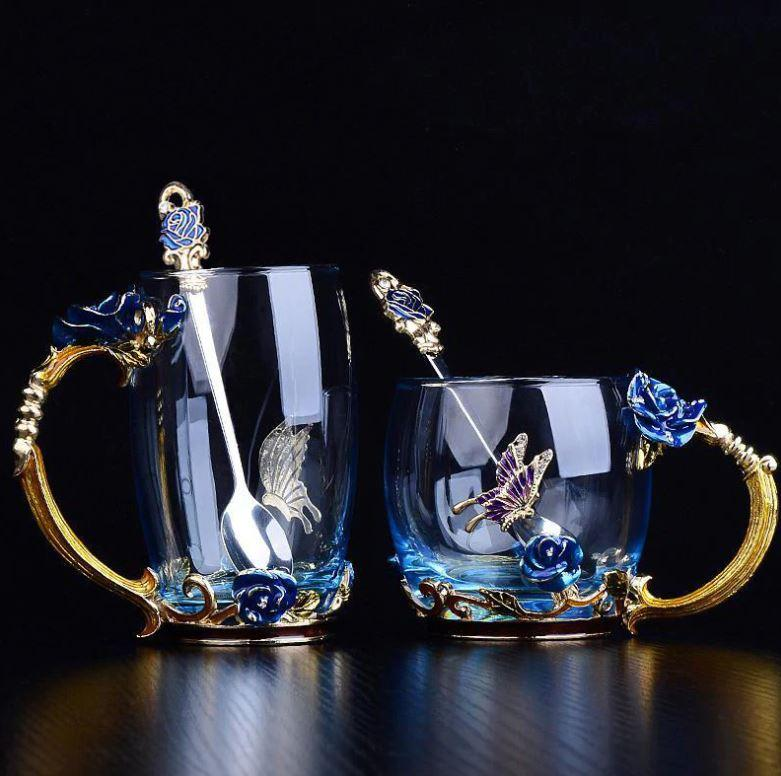 Luxury Crystal Floral Glass Tea Cup