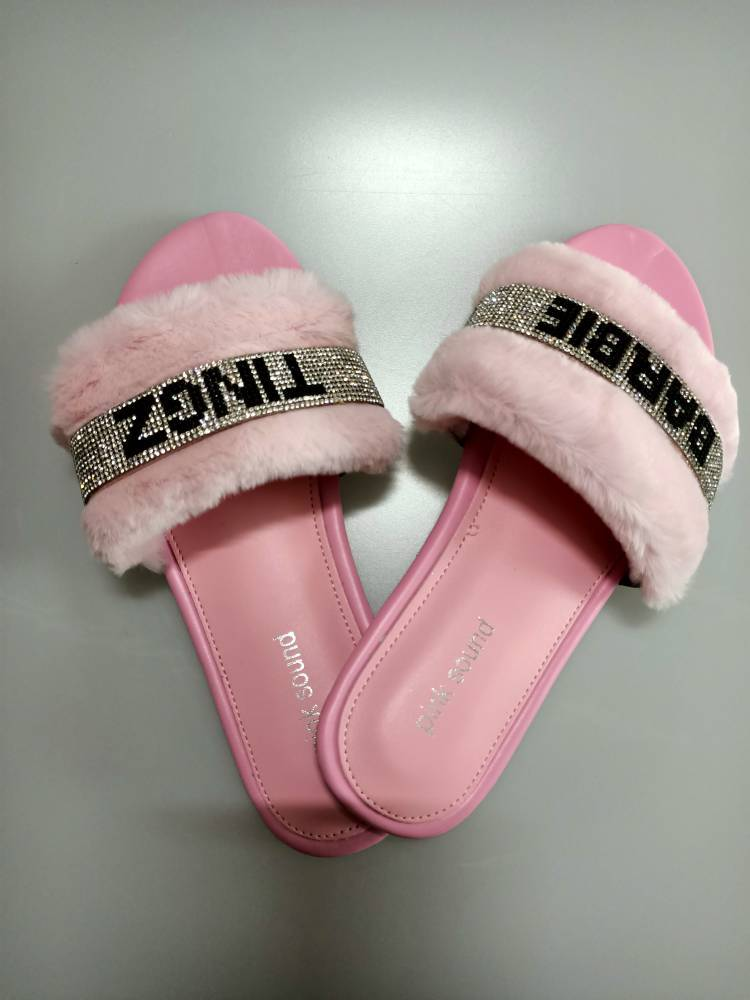 Fluffy Plush Diamond Slippers
