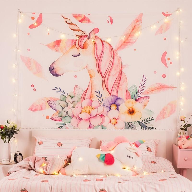 Unicorn Hanging Tapestry With LED Star Light